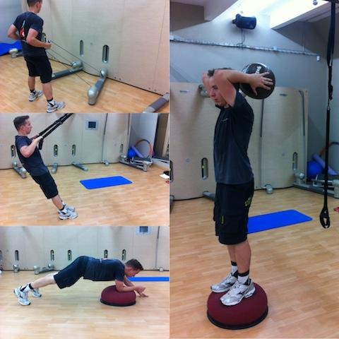 Funkční trénink za využití různých pomůcek.